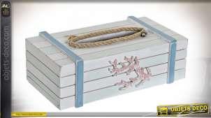 Boîte à mouchoirs en bois effet usé et corde, ambiance bord de mer, 25cm