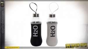 Série de 2 bouteilles en verre, noire et blanche avec anse de transport, 400ml