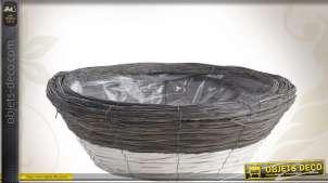 Corbeille ronde décorative bicolore en bois Ø 45 cm