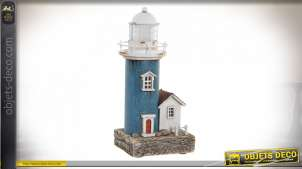 Reproduction miniature d'un ancien phare, en bois et métal avec éclairage LED intégré, finitions anciennes, déco bord de mer, 21cm