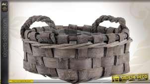 Série de trois corbeilles deux anses en bois et corde