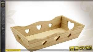 Corbeille décorative rectangulaire en bois avec découpes coeurs