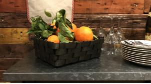 Corbeille en bois finition noir charbon, effet panier tressé à grosses mailles, 28cm