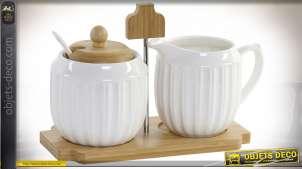 Accessoires de thé avec sucrier et pot à lait en porcelaine, avec support métallique, en bambou naturel, 13cm