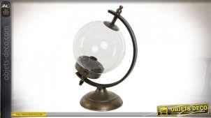 LAMPE DE TABLE MÉTAL VERRE 25X20X36 BALLE