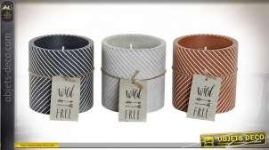 Série de 3 bougies décoratives avec pots en ciment, déco moderne et teintes actuelle, Ø8cm