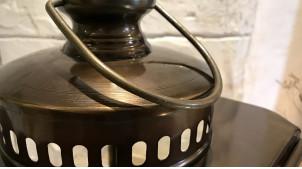 Grande lanterne noir cuivré rétro indus en métal 57 cm