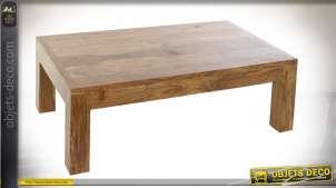 Table basse de salon en bois d'acacia massif, richement veiné et texturé de style rustique, 110cm de long