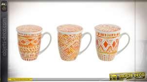 Série de trois mug en porcelaine avec filtres à infusions, couleurs colorées et pétillantes, 380 ml