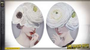 Série de deux toiles ovales contemporaines avec illustrations de femmes chic et glamour, teintes douces, 70cm