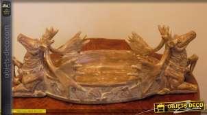 Corbeille de table décorative têtes de rennes
