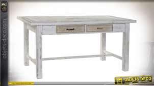 TABLE BOIS FER 160X80X76 BLANC