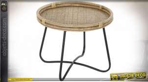 TABLE AUXILIAIRE ROTIN MÉTAL 58X58X47 NATUREL
