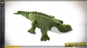 Peluche crocodile en polyester, finition douce et chaude, 80cm de long