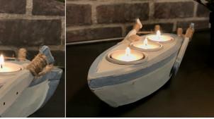 Porte bougie en bois en forme de barque, ambiance bord de mer avec coquillages et cordes, 23cm