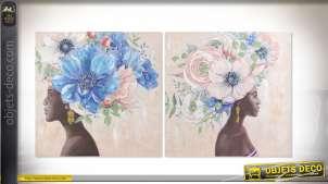 Série de deux grandes toiles représentant des femmes africaines coiffées de fleurs colorées, de style ethnique 80cm