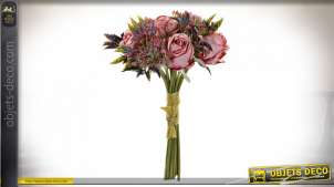 BOUQUET PVC POLYESTER 20X24X34 ROSES ROSE