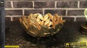 Centre de table stylisé en résine finition doré ancien, forme de saladier design avec formes de feuilles, de style moderne, Ø25cm