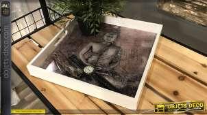 Plateau en bois finition blanche, impression de Bouddha en fond, modèle 2 clair