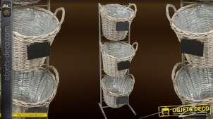 Jardinière verticale en métal avec trois pots en osier (114 cm)