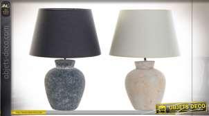 Série de deux lampes de salons en grès et en lin, finitions anthracite ciment et crème vieilli, de style moderne, 50cm