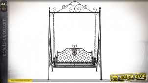 Balancelle de jardin en fer forgé et métal pour 2 personnes noir antique 214 cm