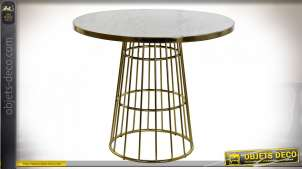 TABLE MARBRE LAITON 90X90X75,5 MARBRE BLANC