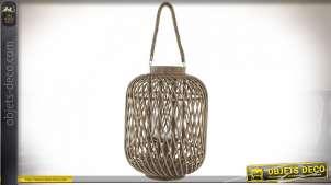 Lanterne bougeoir cylindrique en bambou naturel 60 cm