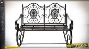 Banc de jardin rockingchair en métal et fer forgé, dossier en médaillons, 118 cm