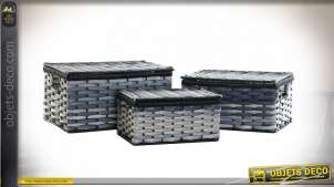 CORBEILLE SET 3 PVC 40X28X21 BLEU