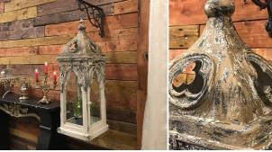 Lanterne de style gothique et provençal en sapin vieilli 90 cm