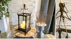 Grande lanterne avec cage en bois et pieds tournés teinte marron antiquaire 70 cm