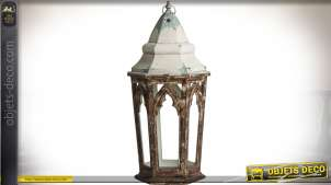 Grande lanterne hexagonale en bois et métal de style gothique 94 cm