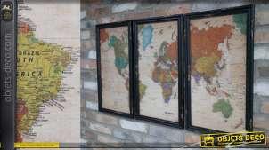 Triptyque du monde de style vintage, couleurs pastelles et encadrements finition noir usé, 105cm