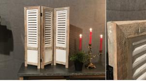 Paravent en bois de style campagne chic, finition ancienne effet usé blanc et gris, 70cm de haut