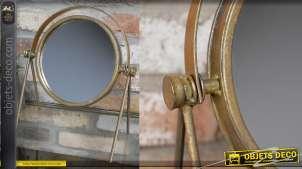 Miroir de table en métal, forme circulaire finition bronze ancien esprit rétro 31cm de haut