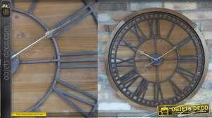 Horloge murale en bois et métal de style rustique, finition naturel et vieille fonte esprit ancienne roue, 76cm