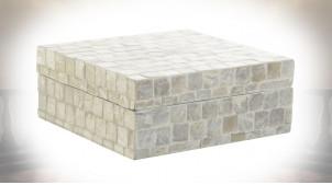 Boite décorative de forme carrée avec carreaux sur base de bambou, finition nacrée, 20cm