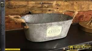 Bac en métal style galvanisé esprit ancienne baignoire de campagne, anses en corde, forme ovale, 30cm