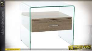 TABLE DE CHEVET VERRE MDF 50X40X45,5 10MM