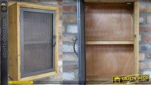 Unité de stockage murale en bois de sapin et porte grillagée, de style industriel, deux niveaux, 60cm