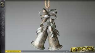 Cloches en métal type zinc à suspendre, esprit fêtes de Noël effet ancien oxydé, 63cm
