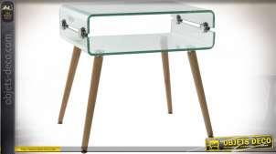 TABLE DE CHEVET VERRE HETRE 55X40X55 TRANSPARENT