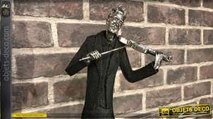 Statuette en résine d'un violoniste passionné, effet ancien noir et vieil argent, 47cm de hauteur finale