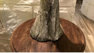 Grande statue en résine d'une nymphe avec une clarinette, finition argent ancien avec reflets brillants, 79cm