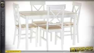 TABLE SET 5 PEUPLIER 118X74X73 4 CHAISES BLANC