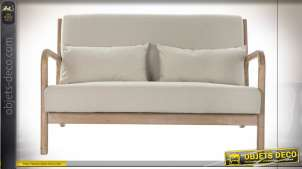 Canapé deux places en bois finition naturelle et lin beige