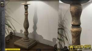 Pied de lampe en bois tourné, base carrée, finition bois effet brossé vieilli avec reflets clairs, 52cm