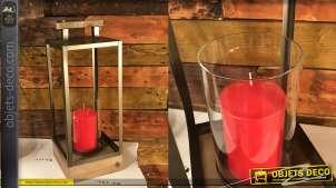 Lanterne de style industriel moderne, en bois verre et métal, avec cylindre central et anse de transport, 54cm
