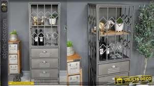 Meuble style vitrine en métal et bois de sapin, style industriel esprit grille de sécurité de commerce, 137cm